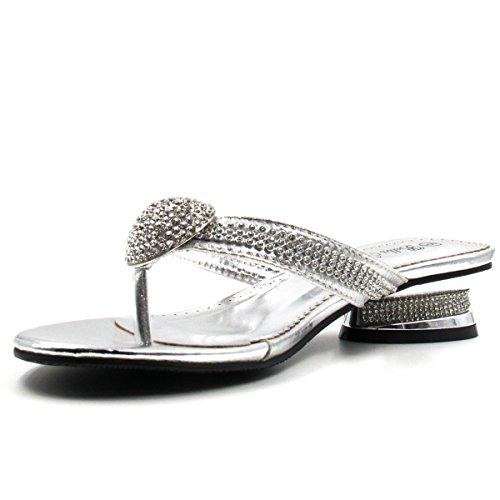 Image of Bella Hanna Women Low Heel Fashion Rhinestones Glitter Bling Open Toe Slip On Thong Ring Rhinestone Memory Foam D02