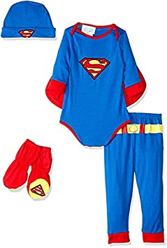 Newborn Blue Rubies DC Comics Superman Onesie and Headpiece