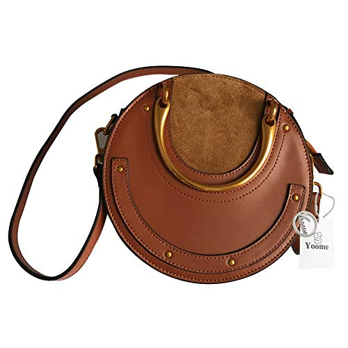 Chole Bag - Yoome Elegant Rivet Bag Punk Purse Circular Ring Handle Handbags Cowhide Crossbody Bags For Women - Brown