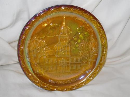 - Indiana Glass independence Hall Amber Carnival Glass Plate
