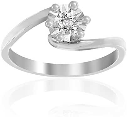 Lumineux Diamond Womens Diamond Accent Round Swirl Ring, White Gold & Rhodium Plated Brass