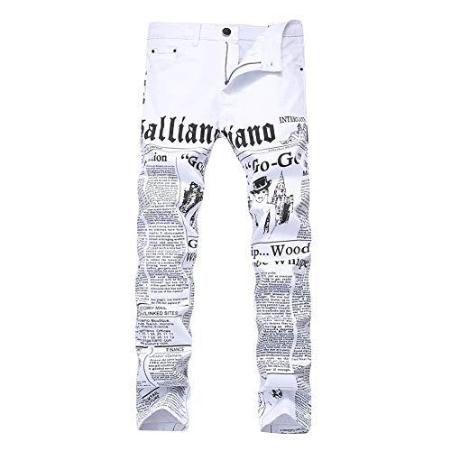 Versaces Hombres Jeans Slim Fit Blanco Imprimir Elasticidad Ocio Pantalones white