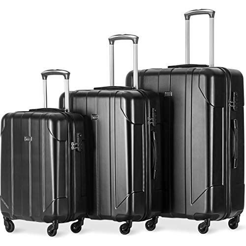 Merax Luggage 3 Piece Set P.E.T Luggage Spinner Suitcase Lightweight 20 24 28inch (Black Color)