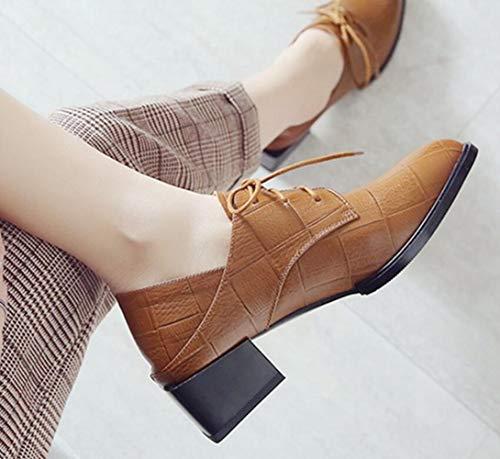 Grueso Cuero Británico Puntiagudos Zapatos Yellow Estilo Cruzadas Boca Shiney Talón Womens De Profunda Individuales Correas FIxqY1w