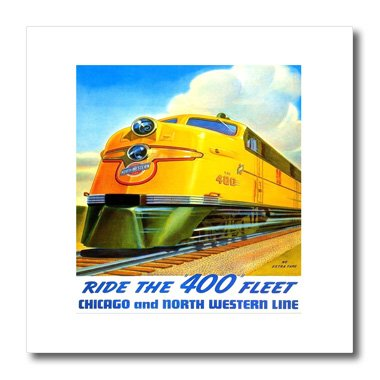Northwestern Train (3dRose ht_109629_2 Northwestern Train Line Poster-Iron on Heat Transfer for Material, 6 by 6-Inch, White)