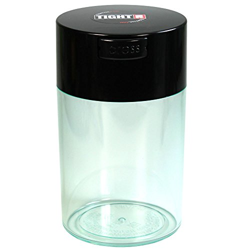 Tightvac - 1 oz to 6 ounce Airtight Multi-Use Vacuum Seal Portable Storage Container for Dry Goods, Food, and Herbs - Black Cap & Clear Body by Tightpac America, Inc.