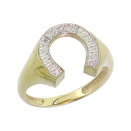 10K Yellow Gold Mens Horseshoe Ring Diamond Accent 9/16 inch wide, size (Mens Diamond Horseshoe Ring)