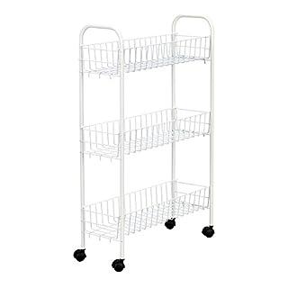 Household Essentials 05121 Slim Line 3 Tier Metal Storage Cart | Laundry  Room Rolling Organizer