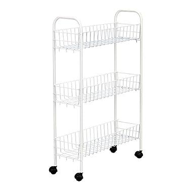 Household Essentials Slim Line 3-Tier Metal Storage Cart, White