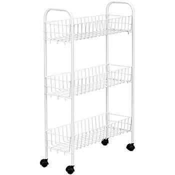 Household Essentials 05121 Slim Line 3-Tier Metal Storage Cart | Laundry Room Rolling Organizer | White