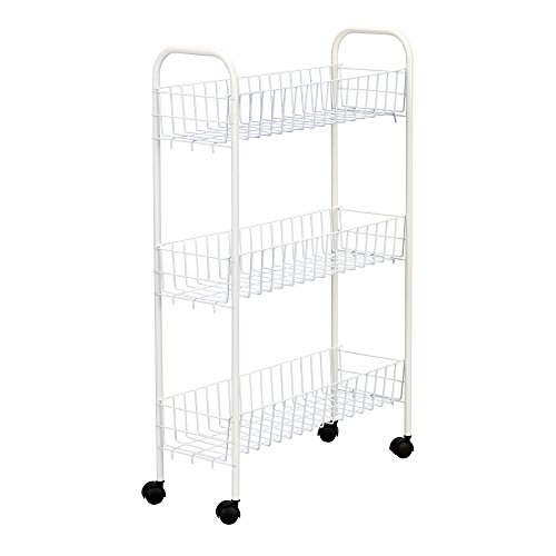 Household Essentials 05121 Slim Line 3-Tier Metal Storage Cart | Laundry Room Rolling Organizer | White