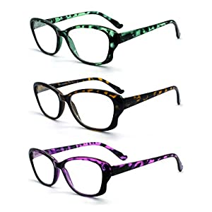 Eye-Zoom 3 Pack Cat Eye Tortoise Color Frame Reading Glasses for Women (Green, Yellow and Purple, Strength: +2.75)