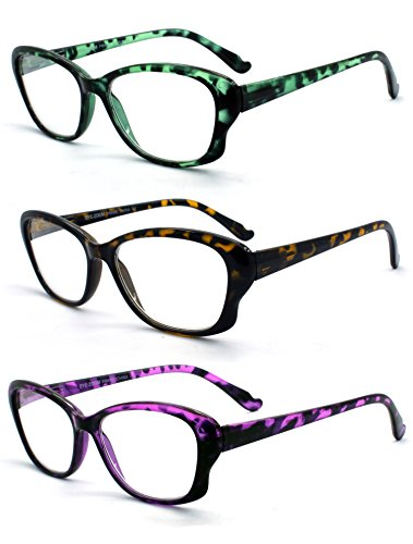 Eye-Zoom 3 Pack Cat Eye Tortoise Color Frame Reading Glasses for Women (Green, Yellow and Purple, Strength: - Distance Glasses Bridge