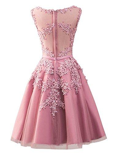 Partykleid Damen Silber Brautjungfernkleider mit Beyonddress Ballkleid Kurz Applikationen Abendkleider Elegant FxTqAwv8