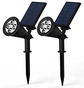 2PCS 2 in 1 Solar Powered 4-LED Landscape Lighting Outdoor Spotlight