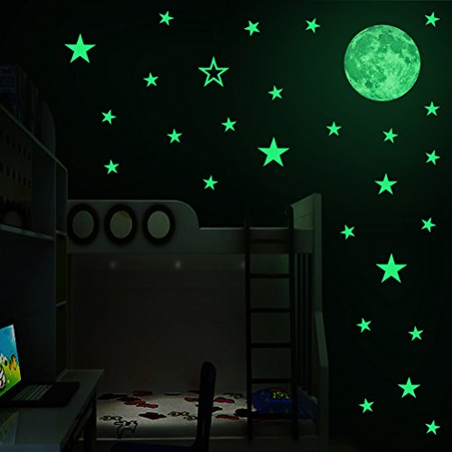 Stars Moon Decorations (Creative Moon with Stars Halloween Decorations Wall Decals Glow in the Dark, XYIYI Luminous Light Stickers for Halloween Party Kids Home Room Décor)