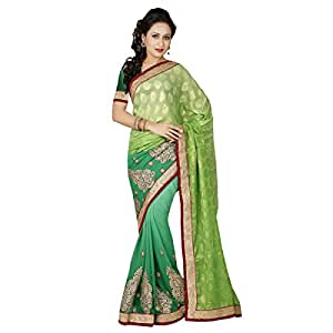 Shilp-Kala Chiffon Embroidered Green Colored Saree SKMF1105