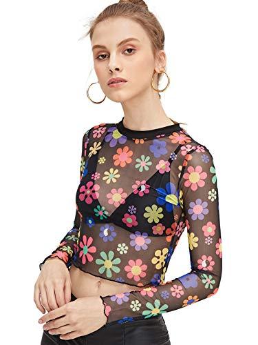 - SweatyRocks Women's Long Sleeve Mock Neck Floral Print Sexy Sheer Mesh Crop Top Black S