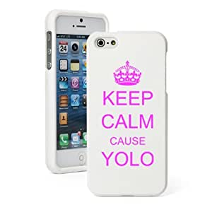 Apple iPhone 5 5s White Rubber Hard Case Snap on 2 piece Hot Pink Keep Calm Cause Yolo