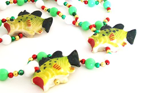 Bass Trophy Fish Fishing Mardi Gras Bead Necklace New Orleans Beads Bayou Cajun Creole