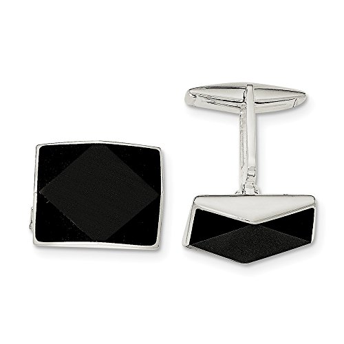 Sterling Silver Onyx Cuff Links by CoutureJewelers