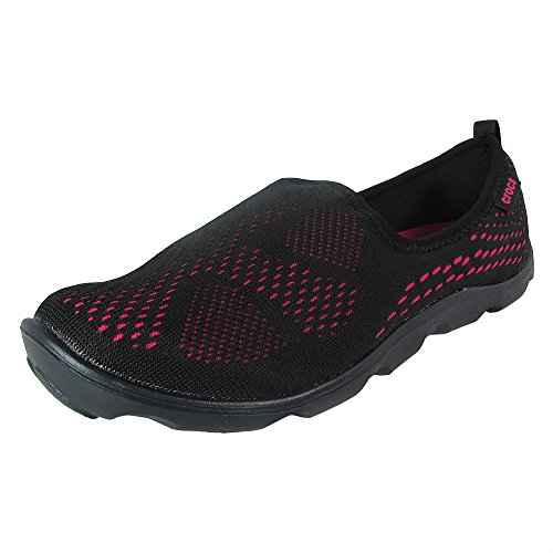 Crocs - Womens DuetBusyDayXpressMesh Skimmer Clogs, Size: 8 B(M) US Womens, Color: Black/Candy Pink