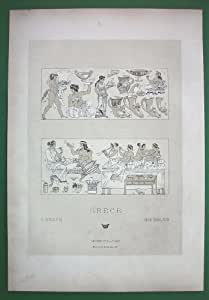 GREECE Costumes of Greeks Banquet Clothing & Drinking Utensils --- Tinted Antique Lithograph Print by Racinet