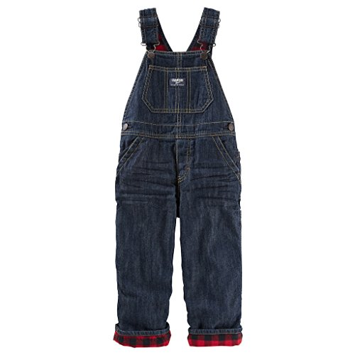 Toddler Boy OshKosh B'gosh Red Plaid Lined Denim Overalls (5T)