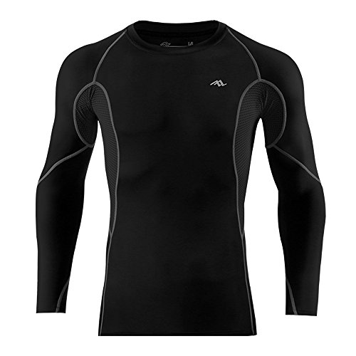 DuShow Men's Long Sleeve Cycling Running Fitness Workout Outdoor Compression Base Layer Sport Quick Dry Workout Shirt Jersey Top(XL,Black)