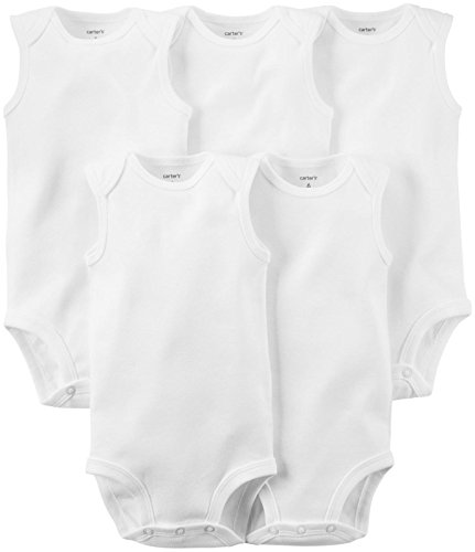 Carter's 5-Pack S/L Bodysuits - White- 6 Months - Infant Beater Tank