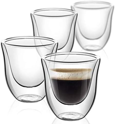 Espresso Cups Shot Glass Coffee Set of 4 Double Wall Thermo Insulated