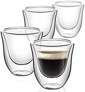 Glass For Coffee, Clear Coffee Cups, Double Wall Clear Thermo Glass, Espresso Shot Glass, Coffee Cup Set of 4 (2.0 oz. / 60 ml)