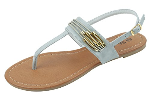 Shoes 18 Womens Roman Gladiator Sandals Flats Thongs 2 Buckle Shoes 4 colors (6, 182230 Grey) (Shoes Roman Sandals)