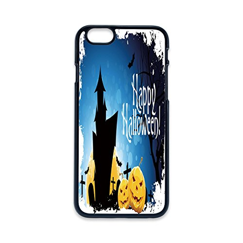 Phone Case Compatible with iPhone5 iPhone5s 2D Print Black Edge,Halloween,Gothic Ancient Castle Moon Cruciform Graveyard Tree Silhouette Abstract,Blue Black Yellow,Hard Plastic Phone Case