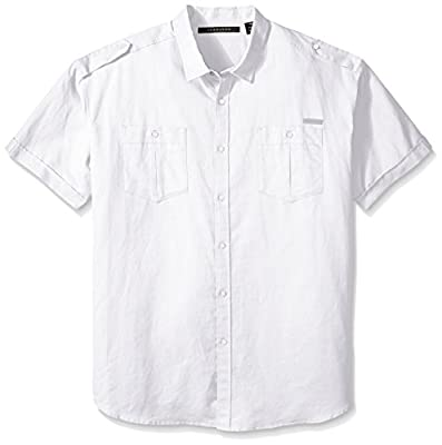 Sean John Men's Big and Tall Short Sleeve Solid Linen Shirt2