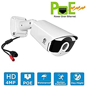 4MP POE Security Camera, JOOAN 1440P IP Camera Outdoor Network Cameras Bullet Type for Home Security -White
