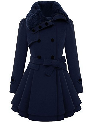 Zeagoo Women's Fashion Faux Fur Lapel Double-breasted Thick Wool Trench Coat Jacket,X-Large,Navy Blue