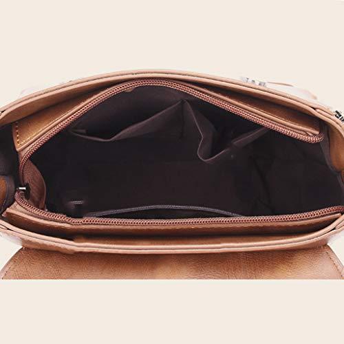 Capacidad Pu Mujer Brown Hombro La Fxdtk De Cuero Tote Bolso Shopper Bag Manobolso Gran A7xw4CgRqx
