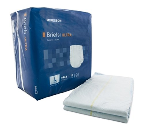 Adult Disposable Ultra Brief Diaper, Large, Heavy Absorbency, Tab Closure - McKesson BRULLG - Case of 72