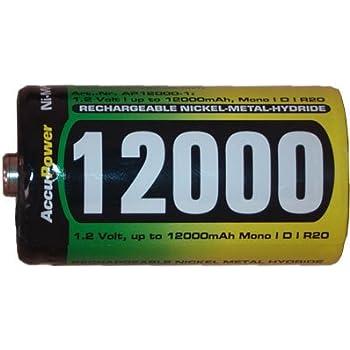 Amazon Com D 12000 Mah Nimh Accupower Rechargeable
