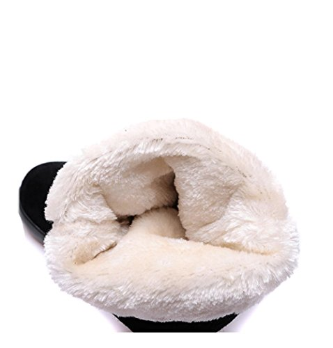 Botas negro flor Zapatos mujer Patrón Bordado de Redonda 4U® Punta de otoño Best Slouch invierno de Botas de plano Gamuza Tacón Cn6RSH5wx