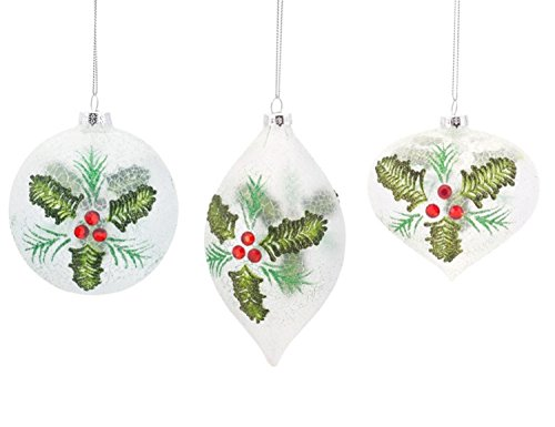 (Pack of 12 Crackle Finish Holly Leaf Glass Ball, Drop, and Onion Ornaments 4