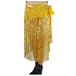 Belly Dance Long Hip Scarf In Gold Sequins