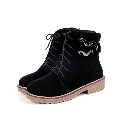 AmoonyFashion Womens Lace-Up Low-Heels Imitated Suede Solid Low-Top Boots Black i2jsgjSL