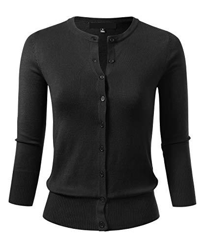 Allsense Women's Button Down 3/4 Sleeve Crew Neck Knit Cardigan Sweater 3XL Black -