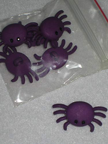 Crafting and adorning Costumes - Primitive 6 Halloween Purple Spider Plastic Novelty Shank Buttons 1'' - Perfect for Crafts, Scrap-Booking, Jewelry, Dolls, Projects -