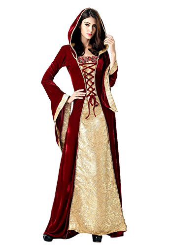 Honeystore Women's Renaissance Adult Queen Hooded Fancy Dress Cosplay Red and Gold L