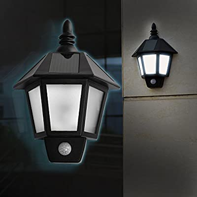 Solar Powered Motion Sensor LED Light Outdoor/ Waterproof Solar Power Light Wall light/ with Two Smart Modes /Wall Light Fixture Lamp for Garden, Pool Pond Patio, Deck,