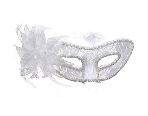 Creative Home Supplies Festival Feather Lace Eye Mask Venetian Flower Mask for Masquerade Ball Costume Party Deserve to Buy (Color : White) ()