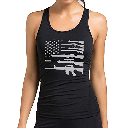 O2TEE Women's Gun American Flag Printed Workout Vest Yoga Stretch Tank Top,Black,Small